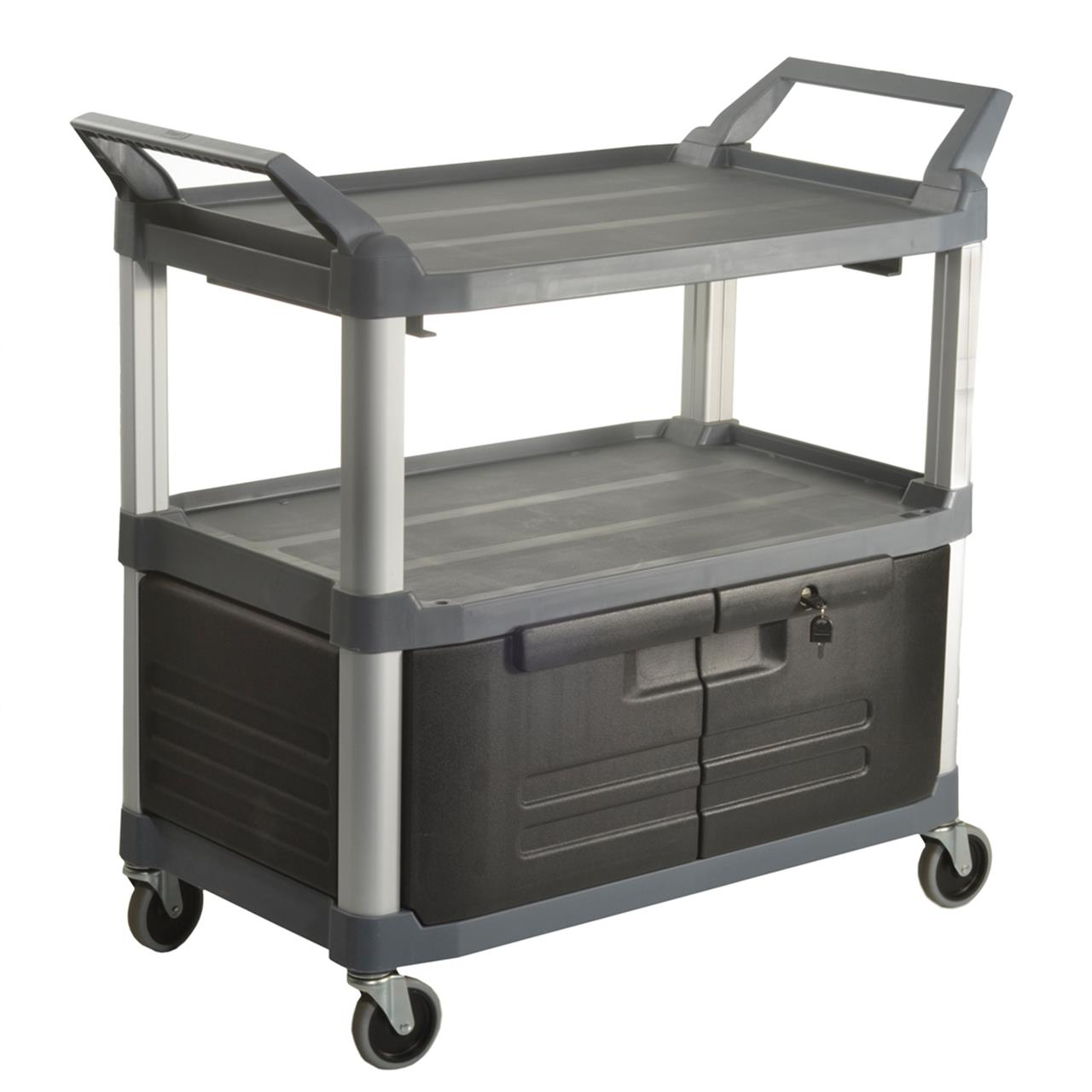 TRUST 3 Tier Utility Service Cart Lockable Doors